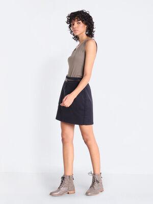 Jupe droite ceinturee noir femme