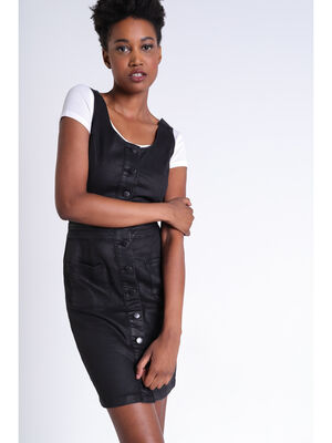 Robe cintree boutonnee noir femme