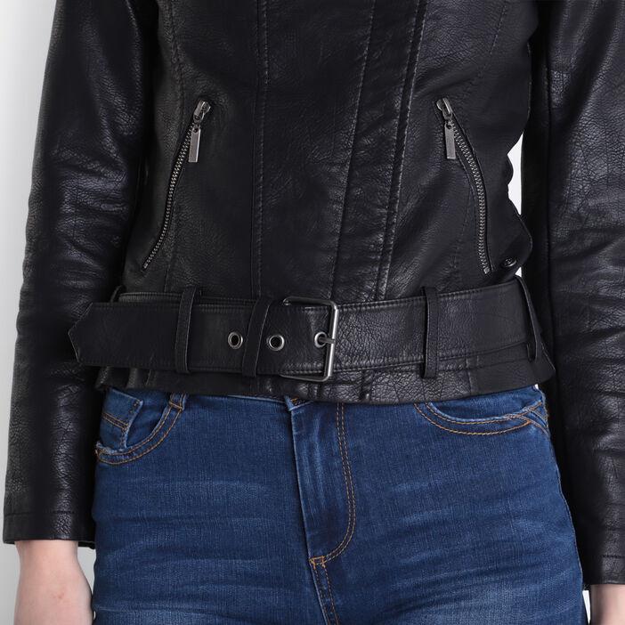Veste motard ajustée perles noir femme