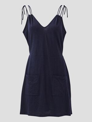 Robe evasee a bretelles fines bleu marine femme