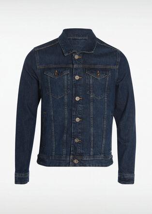 Veste droite boutonnee en jean denim stone homme