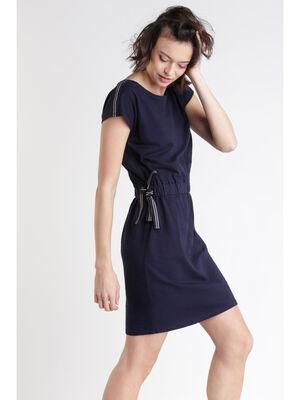 Robe manches courtes avec col rond bleu femme