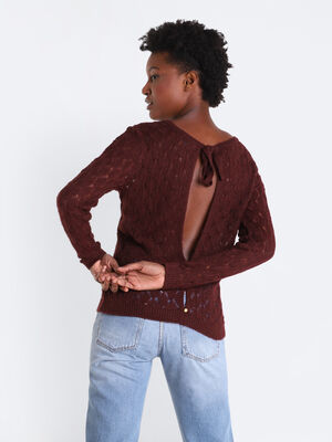 Pull manches longues ajoure rouge femme