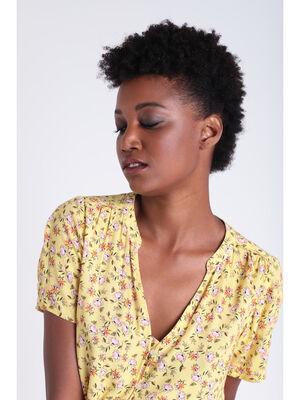 Chemise manches courtes jaune clair femme
