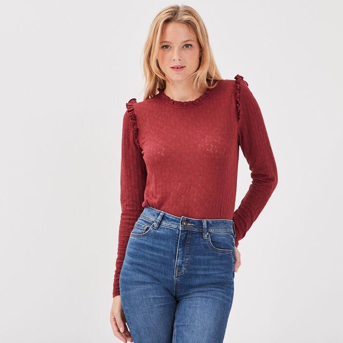 T-shirt manches longues bordeaux femme