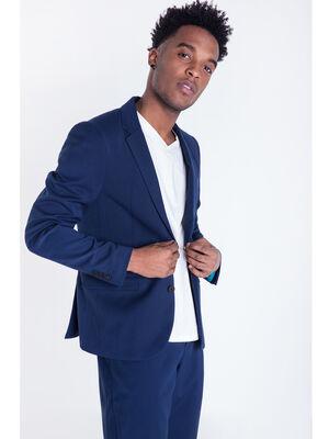 Veste col crante poches bleu homme