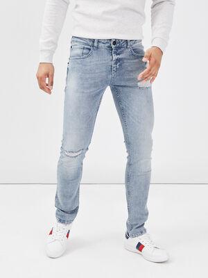 Jeans skinny effet destroy denim used homme