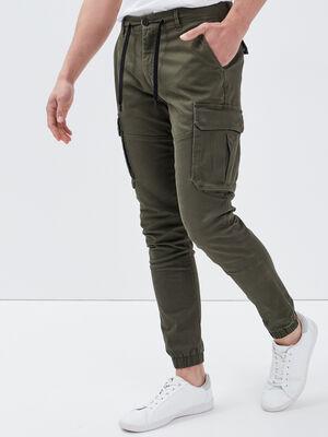 Pantalon battle taille a lien vert kaki homme