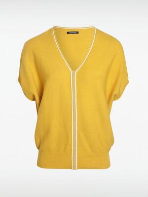 Pull manches courtes jaune citron femme