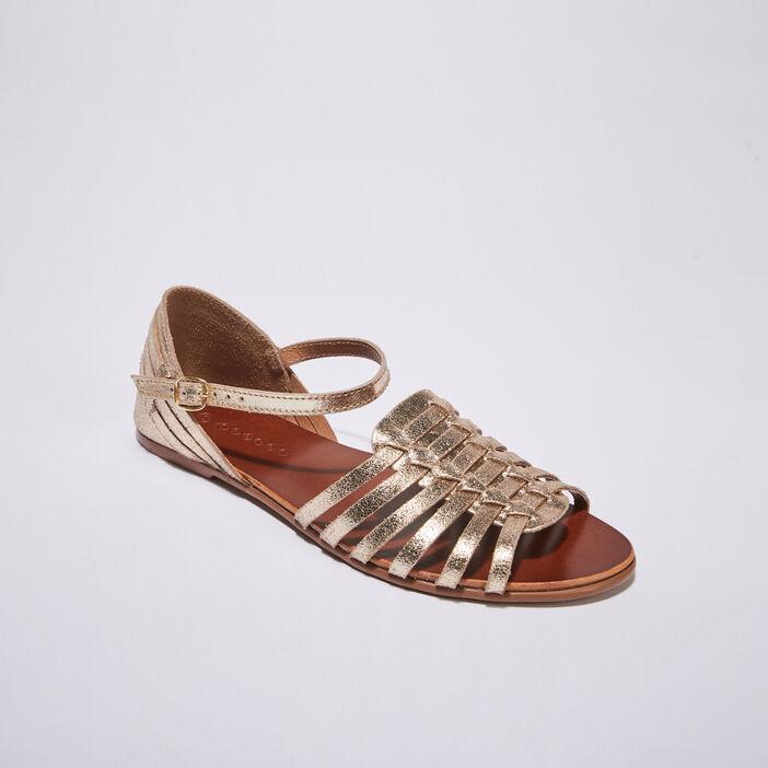 Sandales plates multi-brides jaune or femme