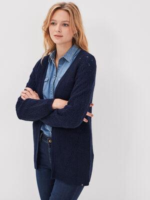 Cardigan manches longues bleu marine femme