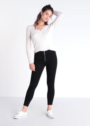 Jeans skinny zippe denim noir femme
