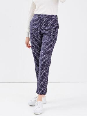 Pantalon cigarette bleu marine femme