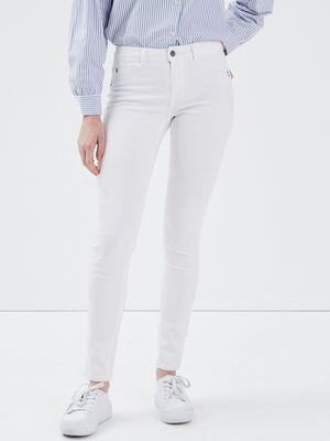 Jeans Lou  jegging en coton bio blanc femme