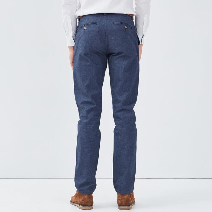 Pantalon chino ceinturé bleu marine homme