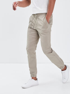 Pantalon chino bas elastique vert kaki homme