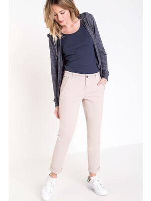 Pantalon chino 78e liseres beige femme