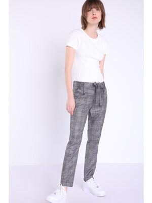 Pantalon chino ceinture gris fonce femme