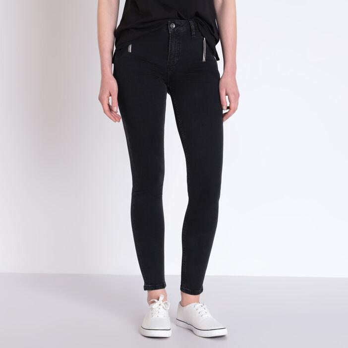 Jeans skinny poches zippées denim noir femme