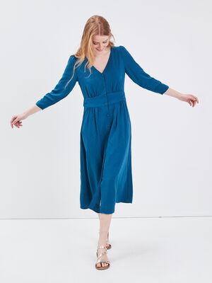Robe longue evasee manches 34 bleu canard femme