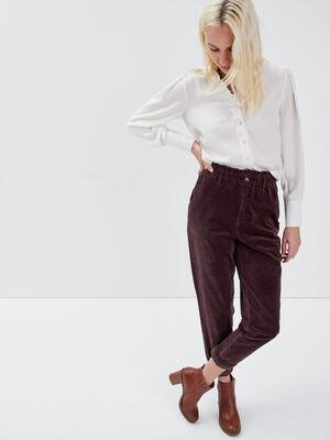 Pantalon boyfriend velours marron fonce femme