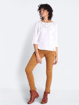 Pantalon skinny 7 poches marron femme