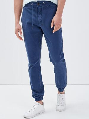 Pantalon chino bas elastique bleu fonce homme
