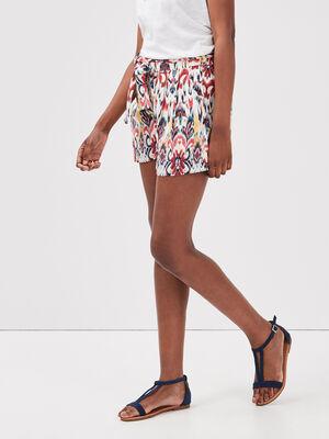 Short droit fluide ceinture multicolore femme
