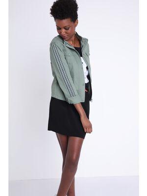 Veste droite courte militaire vert kaki femme