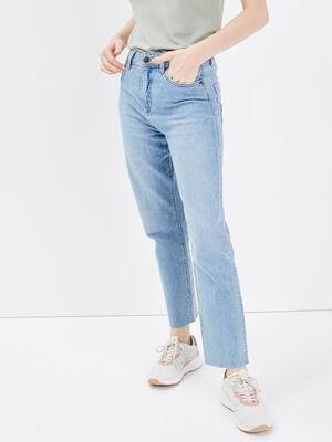 Jeans regular taille haute denim bleach femme