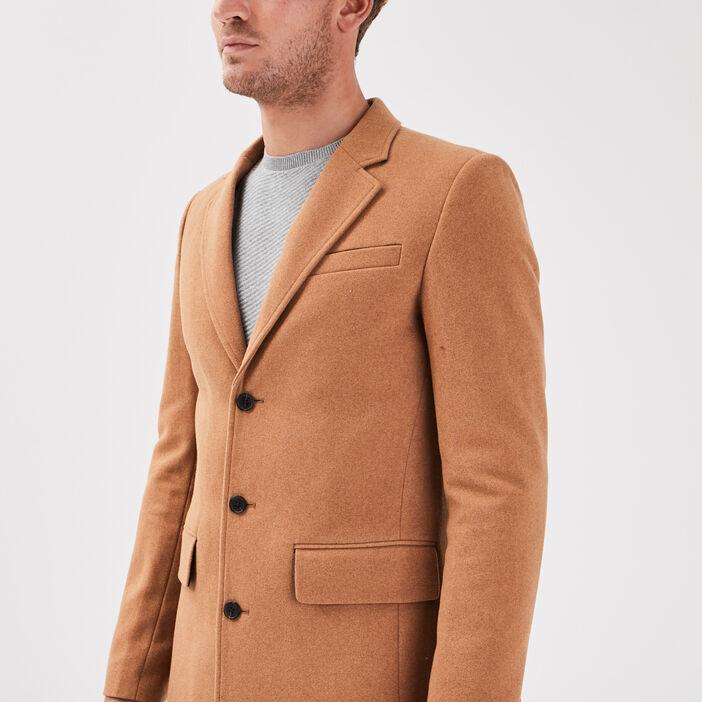 Manteau droit boutonné beige homme