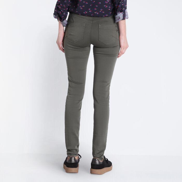 Pantalon skinny push up vert kaki femme