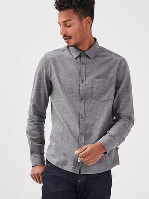 Chemise manches longues gris fonce homme