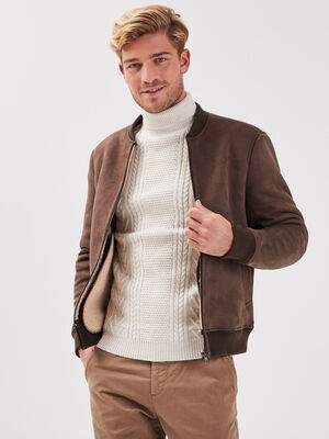 Veste teddy droite marron homme