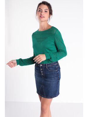 Jupe droite en jean denim stone femme