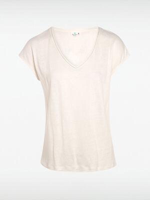 T shirt lin blanc femme