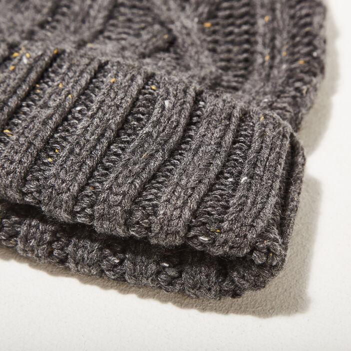 Bonnet tricoté gris foncé homme