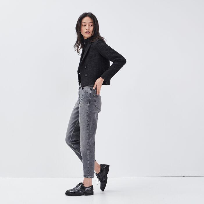 Jeans mom taille haute denim gris femme