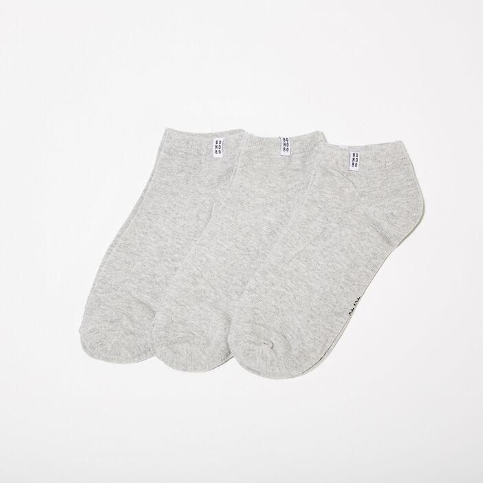 Lot 3 paires chaussettes gris clair homme