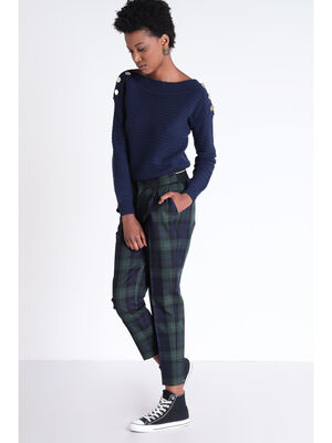 Pantalon chino elastique bleu marine femme