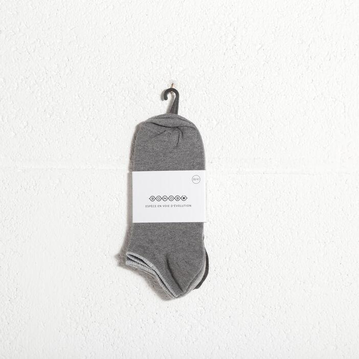 Lot 3 paires chaussettes gris clair femme