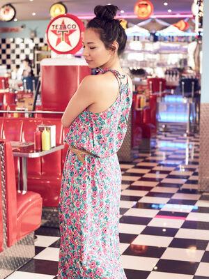Robe longue multicolore femme