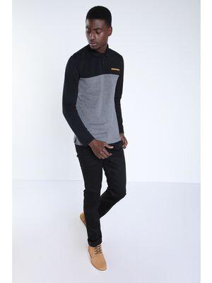 Jeans straight enduit denim noir homme