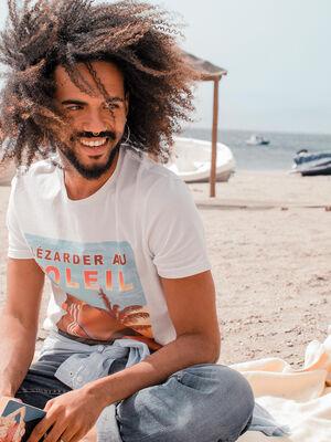 T shirt message ecru homme