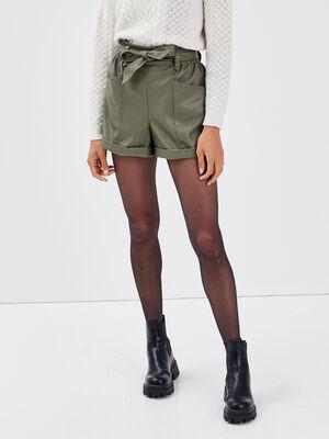 Short paperbag similicuir vert kaki femme