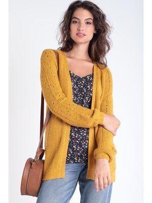 Gilet manches longues ajoure jaune moutarde femme