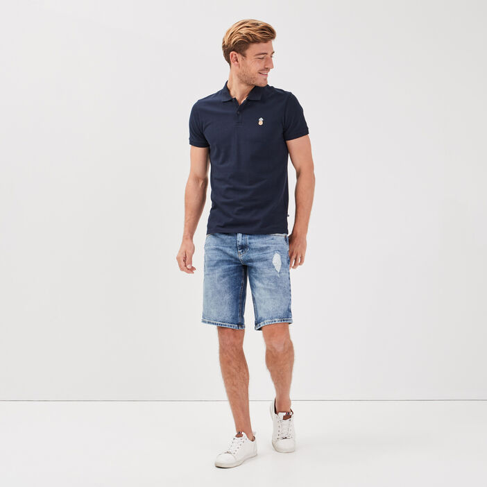 Bermuda droit en jean denim bleach homme