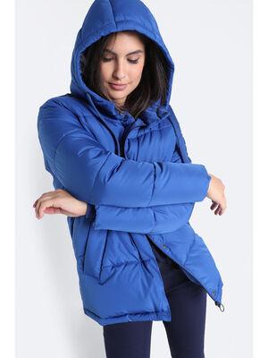 Doudoune droite a capuche bleu marine femme