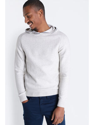 Pull manches longues capuche ecru homme
