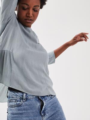 Blouse manches 34 gris fonce femme